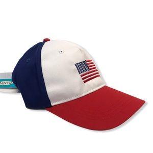 NWT American Flag Adjustable Strap Hat Patriotic